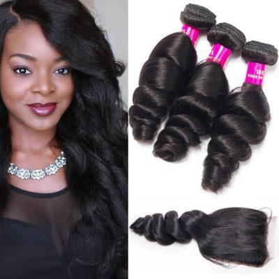 Loose Wave Bundles Closure,Loose Wave With Closure,Brazilian Hair Loose Wave Bundles,Loose Wave Closure With Bundles,Loose Wave Bundles,Brazilian Loose Wave Bundles,Brazilian Hair Closure Bundles Deal,Loose Wave Bundles with Closure