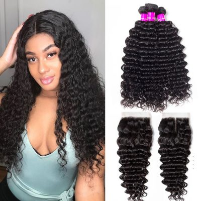 deep wave bundles closure,deep wave with closure,deep wave hair with Peruvian closure,cheap deep wave with closure,Peruvian deep wave bundles with closure,hair bundles deep wave with lace closure,deep closure with bundles,deep wave bundles and closure
