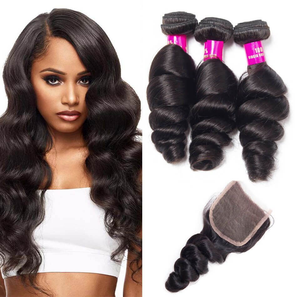loose wave bundles closure,Malaysian loose wave bundles with closure,human hair loose bundles closure,loose wave Malaysian hair,virgin human hair extensions bundles with closure,loose wave bundles with closure