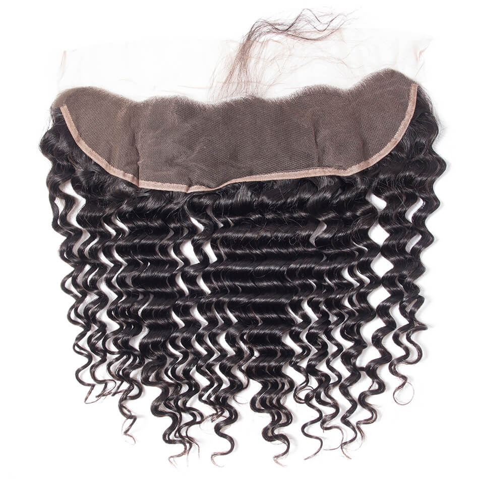 Evan Hair human hair deep wave closure lace frontal