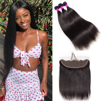 straight hair bundles with frontal,Peruvian straight hair bundles with frontal,7a virgin hair Peruvian straight hair 3 bundles with frontal,wholesale straight hair 3 bundles with frontal closure,cheap hair bundles straight deals
