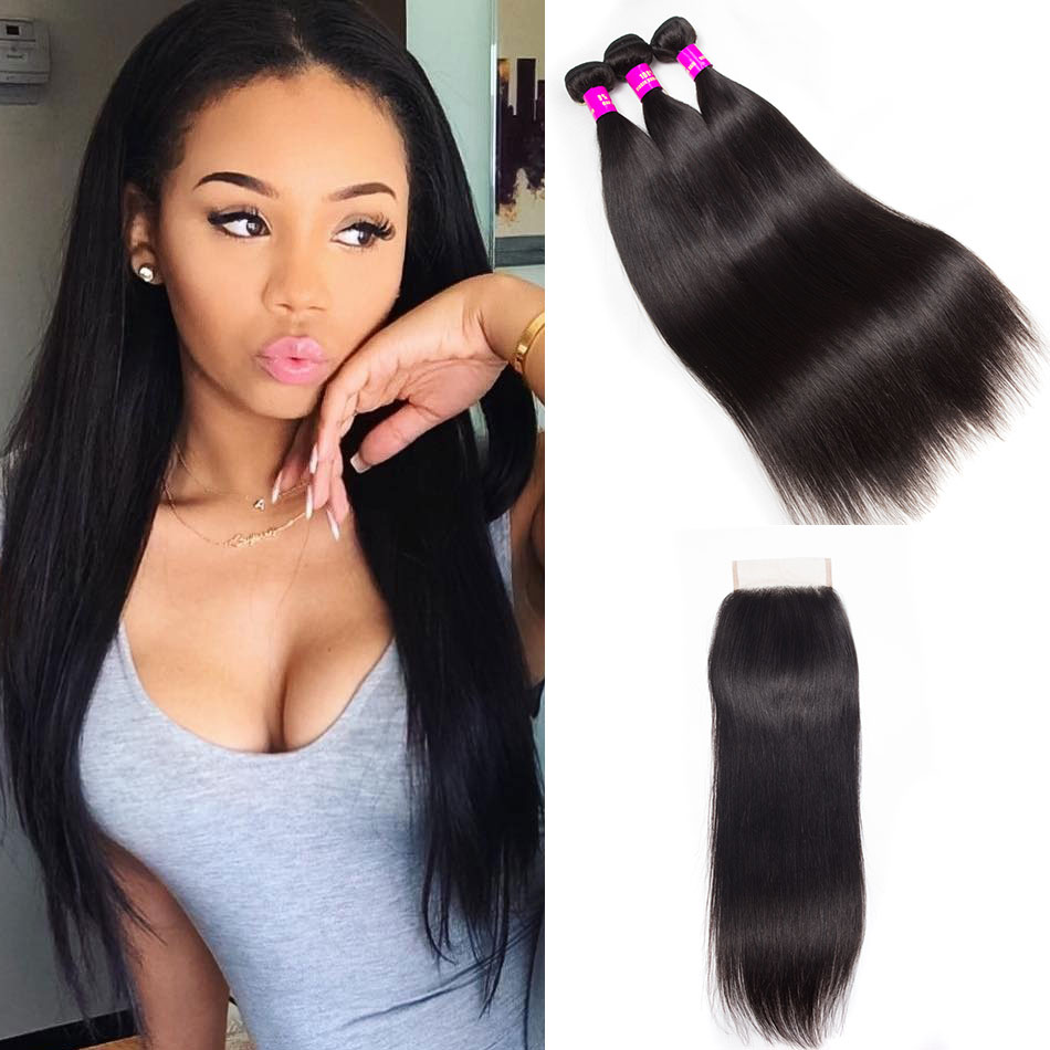 Brazilian Straight Hair 3 Bundles With Closure Evan Hair
