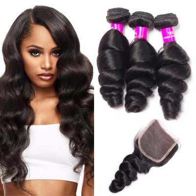 Malaysian loose wave bundles with closure,human hair loose bundles closure,loose wave Malaysian hair,virgin human hair extensions bundles with closure,loose wave bundles with closure