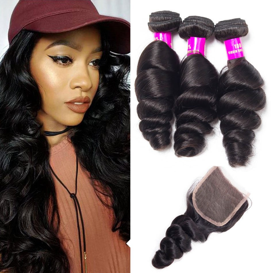 Evan Hair Peruvian Hair Loose Wave 3 Bundles With Closure Peruvian ... 077cd40c3c5d