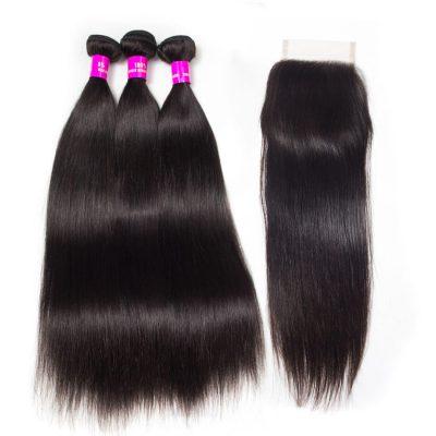 Evan Hair straight hair 3 bundles with closure
