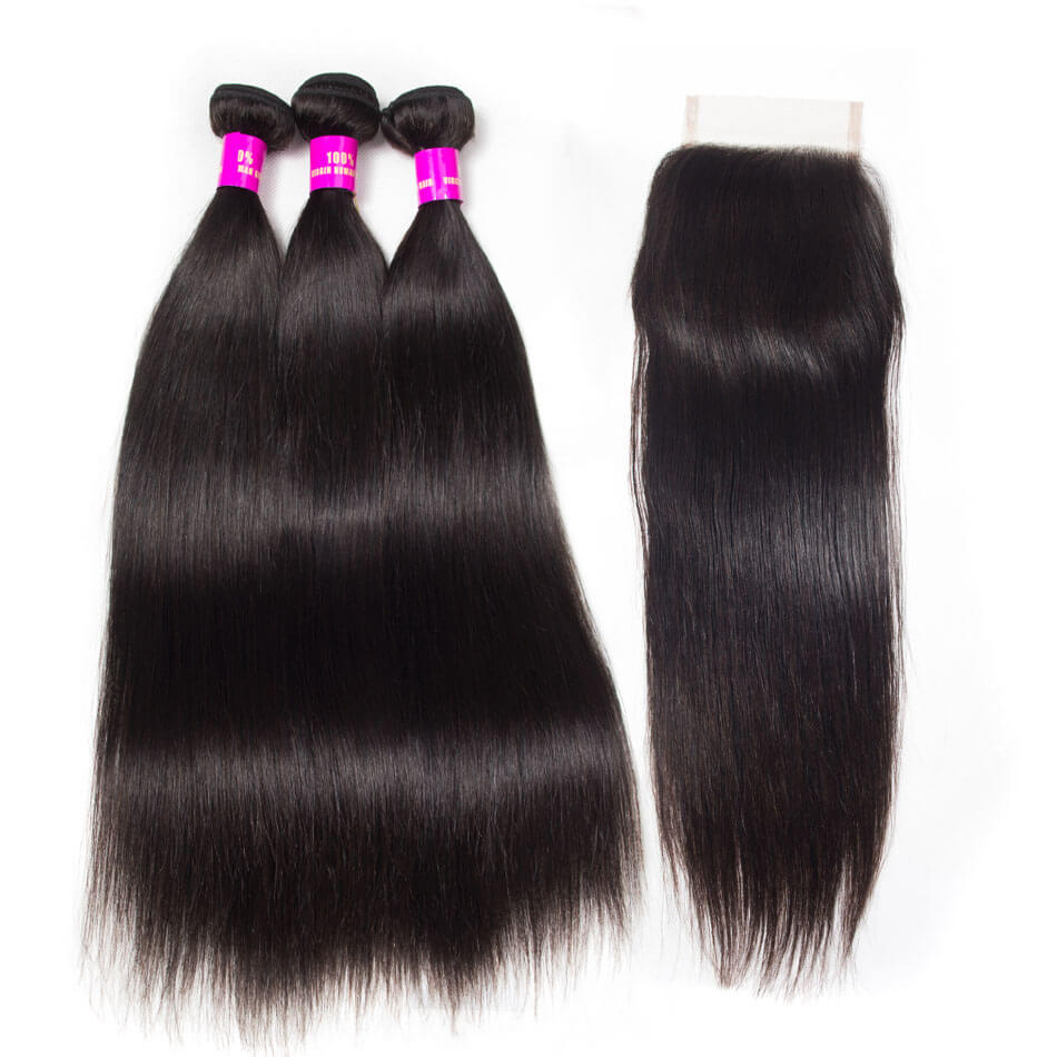 Evan Hair straight hair 3 bundles with closure