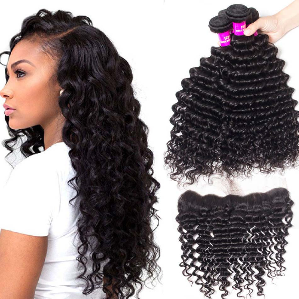 Evan Hair Brazilian Deep Wave with Frontal 3 Bundles with Frontal ... b2e6cfb9ac05