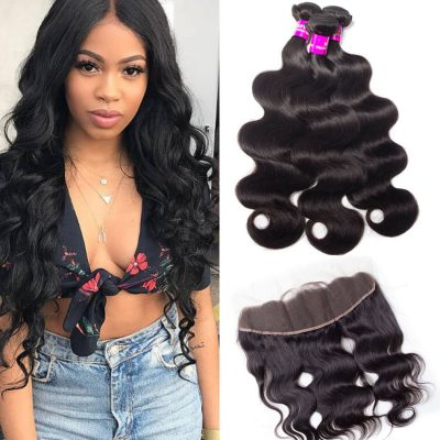 Evan Hair Peruvian Body Wave Hair 3 Bundles with frontal