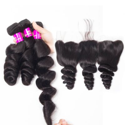 Evan hair loose wave 3 bundles with frontal closure