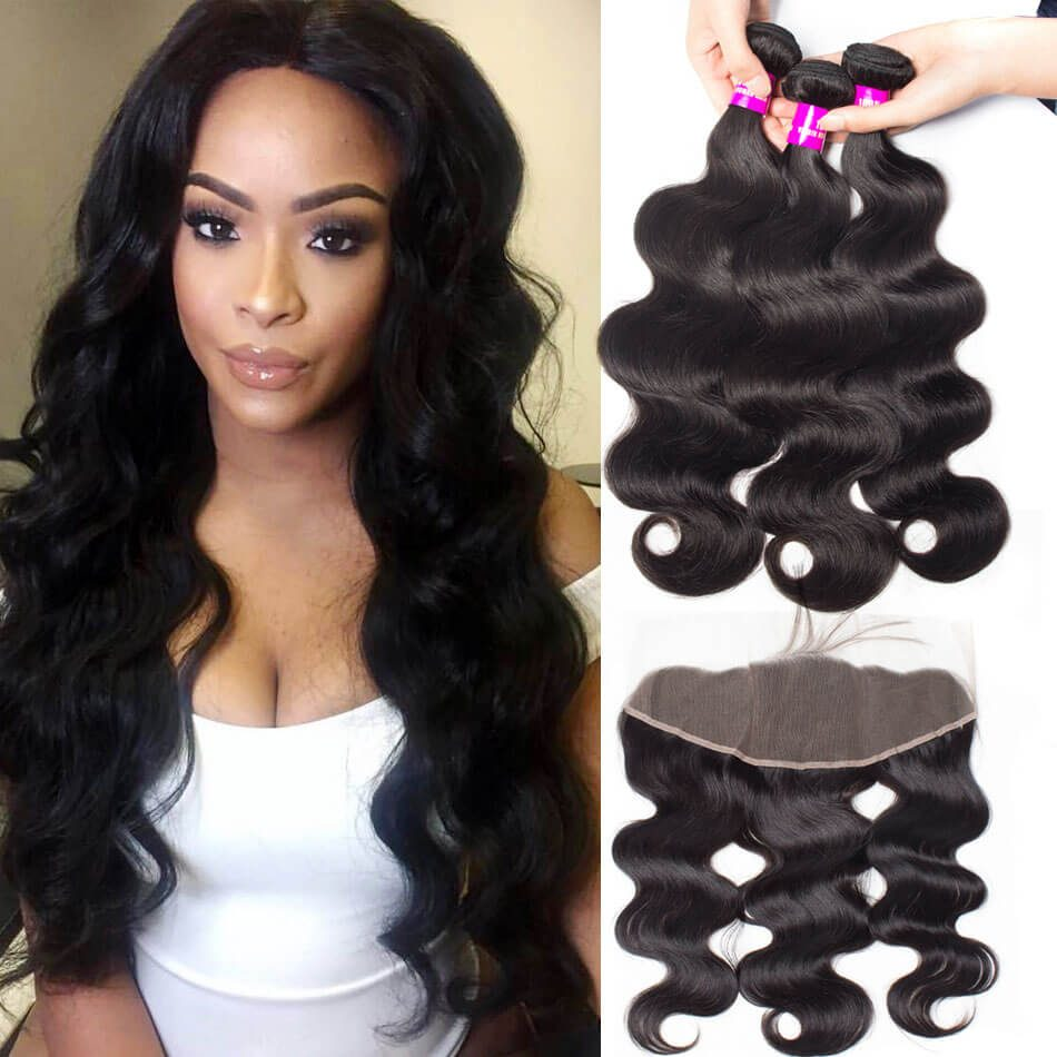 Evan Hair malaysian body wave hair 3 bundles with_frontal
