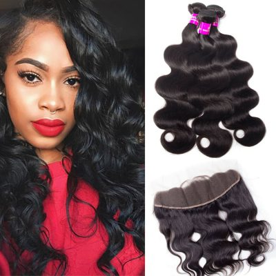 Evan hair Body Wave Hair 3 Bundles with Frontal