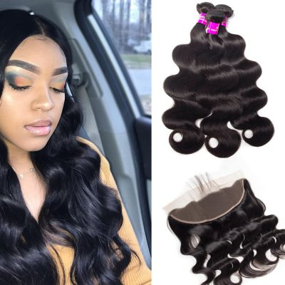 Evan hair body wave virgin hair 3 bundles with frontal