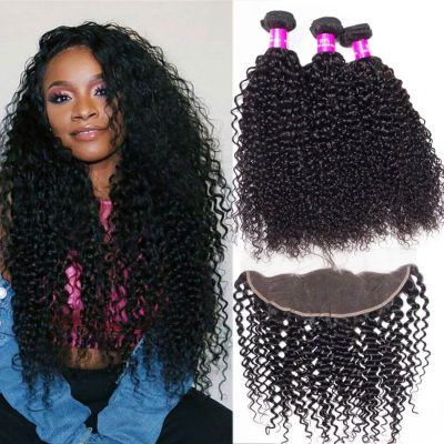Evan hair human hair curly wave bundles with frontal