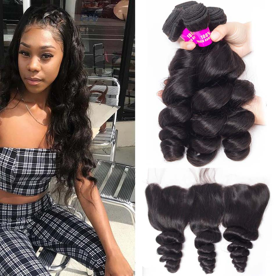 Evan Hair Indian Loose Wave Virgin Hair Weave 3 bundles with Lace ... efb04fb36900