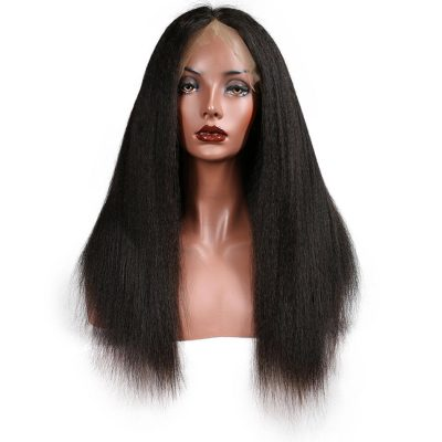 Evan Hair Lace frontal human Kinky Straight hair wigs 130% density