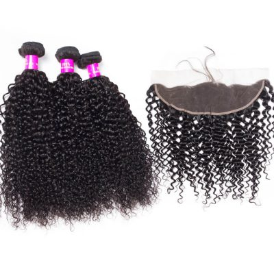 Evan Hair human hair curly wave 3 bundles with lace frontal