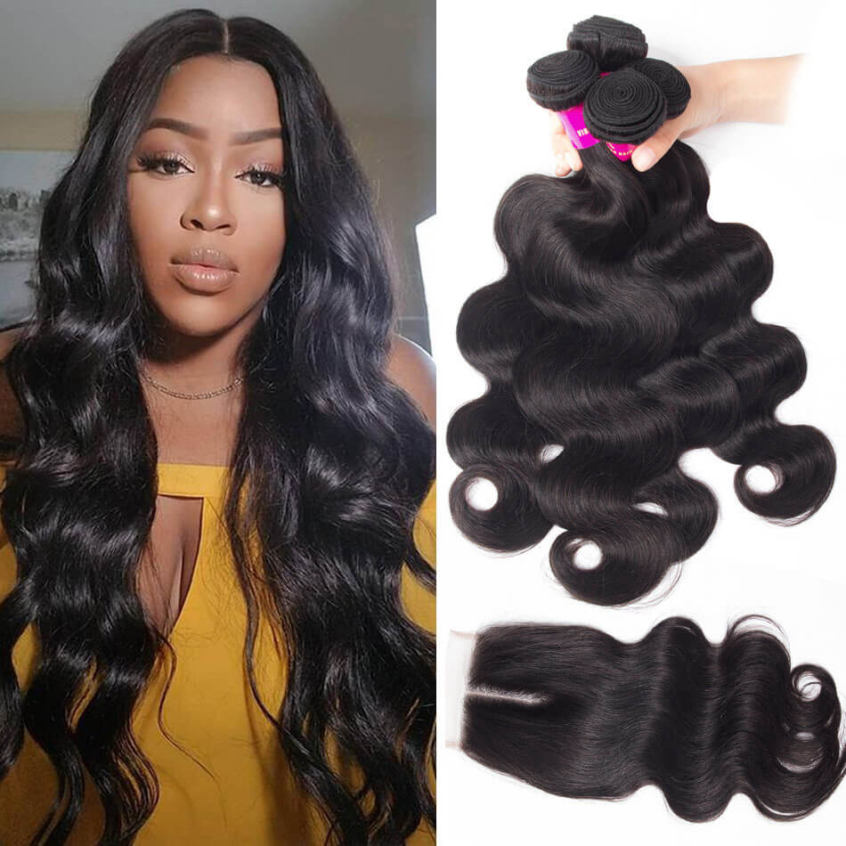 Best Body Wave Hair 4 Bundles With Closure Evan Hair