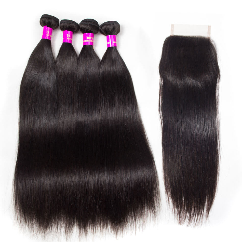 Evan Hair straight hair 4 bundles with closure