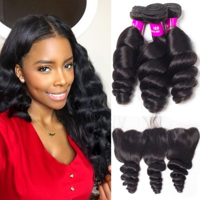 loose wave frontal and bundles,malaysian loose wave virgin human hair 3 bundles with 13*4 lace frontal closure,virgin loose wave bundles with closure,virgin remy human hair loose wave with lace closure frontal