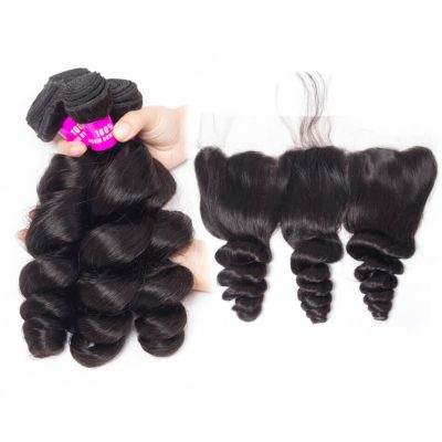 Evan Hair Loose Wave Hair 4 Bundles With Lace Frontal