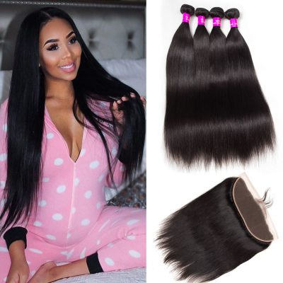 Evan hair Malaysian straight 4 bundles with frontal