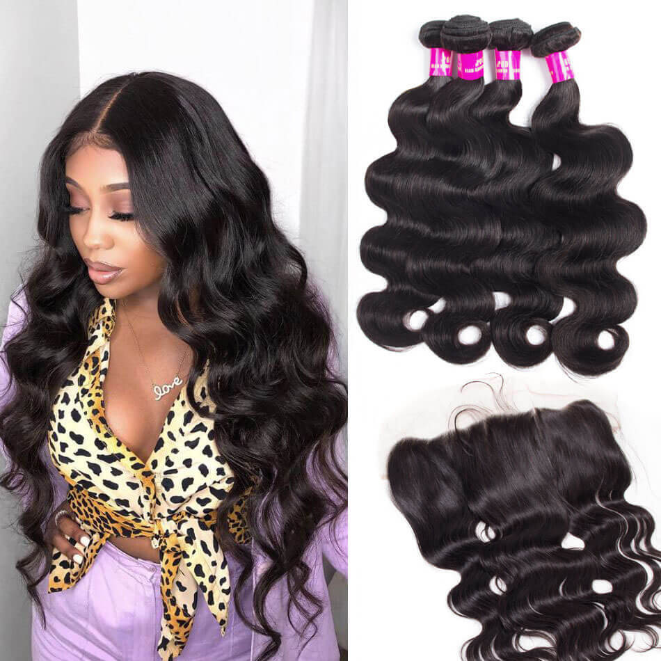 10a Indian Body Wave Hair 4 Bundles With Frontal Evan Hair