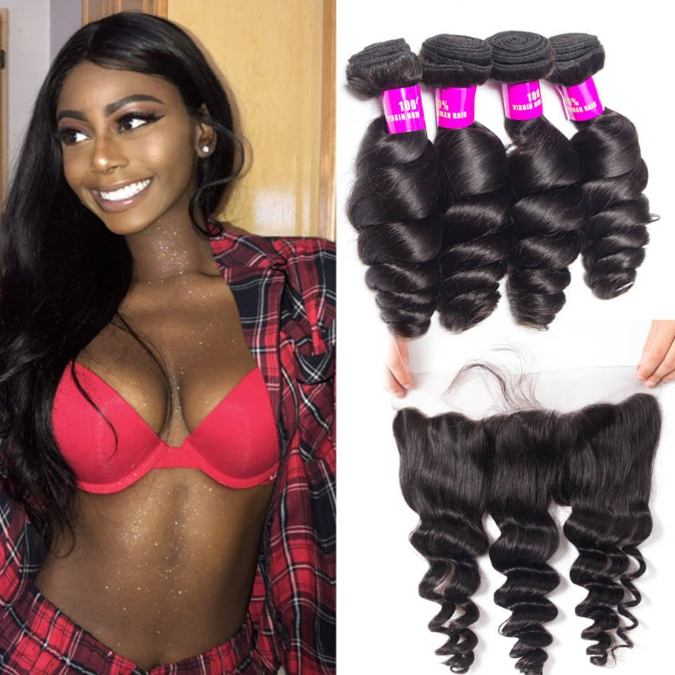 Evan Hair Indian Loose Wave Ear to Ear Lace Frontal With 4 Bundles