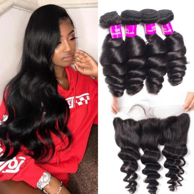 Evan Hair Malaysian Loose Wave 4 Bundles With Lace Frontal