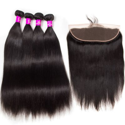 Evan Hair Peruvian Straight Hair 4 Bundles With Frontal