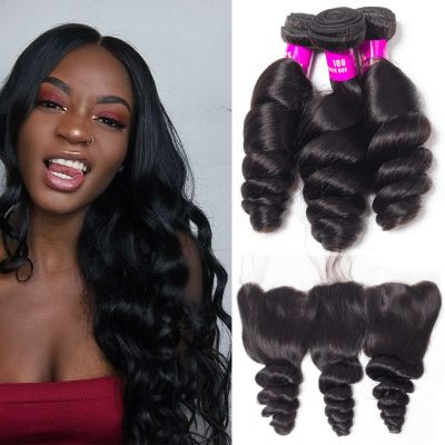 Evan hair Indian loose wave 3 bundles with frontal