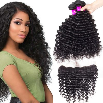 Evan Hair Malaysian Deep Wave Human Hair 4 Bundles With 134 Lace Frontal