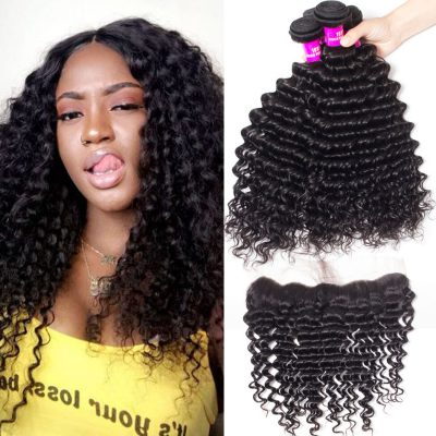 Evan hair Peruvian hair deep wave 4 bundles with frontal