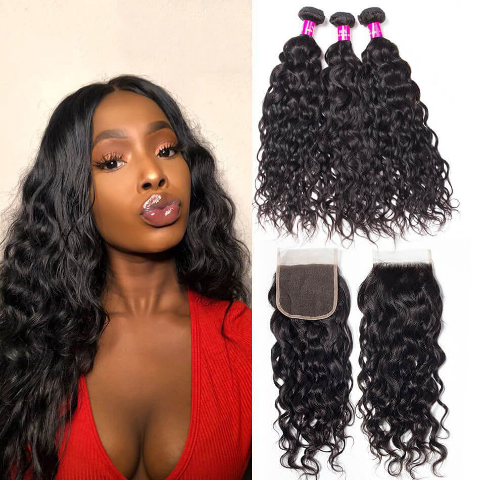 10a brazilian water wave 3 bundles with closure evan hair wet and wavy  human hair weave bundles with closure sale