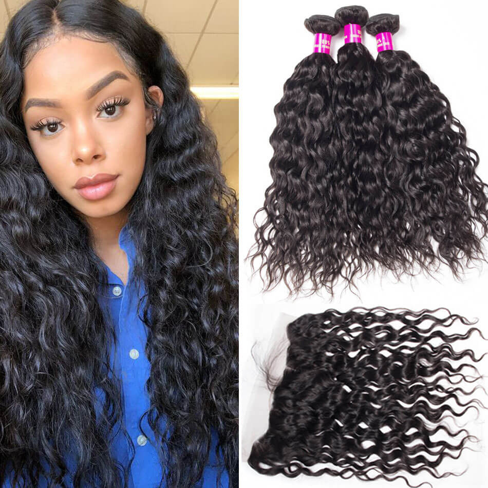 Indian Water Wave Weave 3 Bundles With Frontal Evan Hair