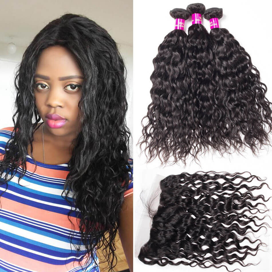 10a Wet And Wavy Human Hair Weave Bundles With Frontal