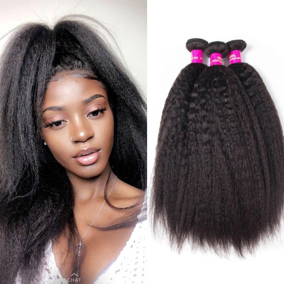 10a kinky straight hair 3 bundles evan hair malaysian kinky straight hair  virgin human hair weave 10-28 inch for sale