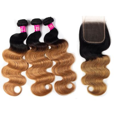 1b/27 body hair with closure,1b 27 body hair bundles closure,ombre body hair with closure,honey blonde hair bundles,3 bundles with closure hair,t1b/27 colored hair bundles and closure