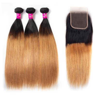 1b/27 straight hair with closure,1b 27 straight hair bundles closure,ombre straight hair with closure,honey blonde hair bundles,3 bundles with closure hair,t1b/27 colored hair bundles and closure
