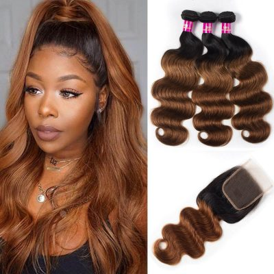 1b/30 body hair with closure,1b 30 body hair bundles closure,ombre body hair with closure,honey blonde hair bundles,3 bundles with closure hair,t1b/30 colored hair bundles and closure