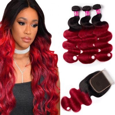 red body wave with closure,burgundy body wave with closure,ombre red body wave with closure,red color hair bundles with closure,burgundy hair color with closure