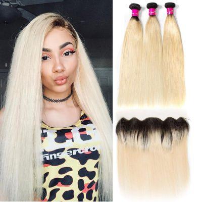 blonde hair bundles with frontal,1B 613 bundles with frontal,613 hair bundles with frontal,1b/613 bundles with frontal,1B 613 bundles frontal