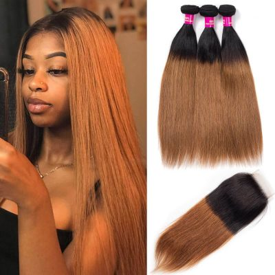 1b/30 straight hair with closure,1b 30 straight hair bundles closure,ombre straight hair with closure,honey blonde hair bundles,3 bundles with closure hair,t1b/30 colored hair bundles and closure