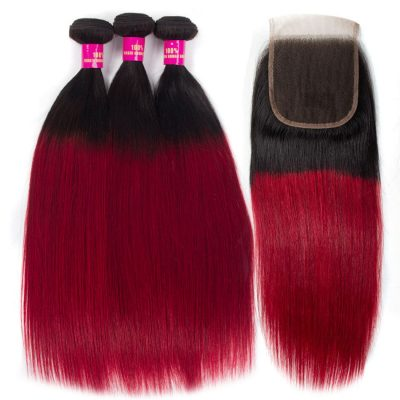 red straight hair with closure,burgundy straight hair with closure,ombre red straight hair with closure,red color hair bundles and closure,burgundy red hair with closure
