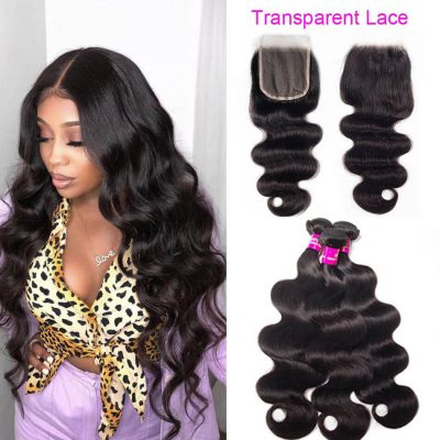 transparent closure body wave,body wave with transparent closure,transparent body lace closure,transparent closure with body wave,best transparent lace closure
