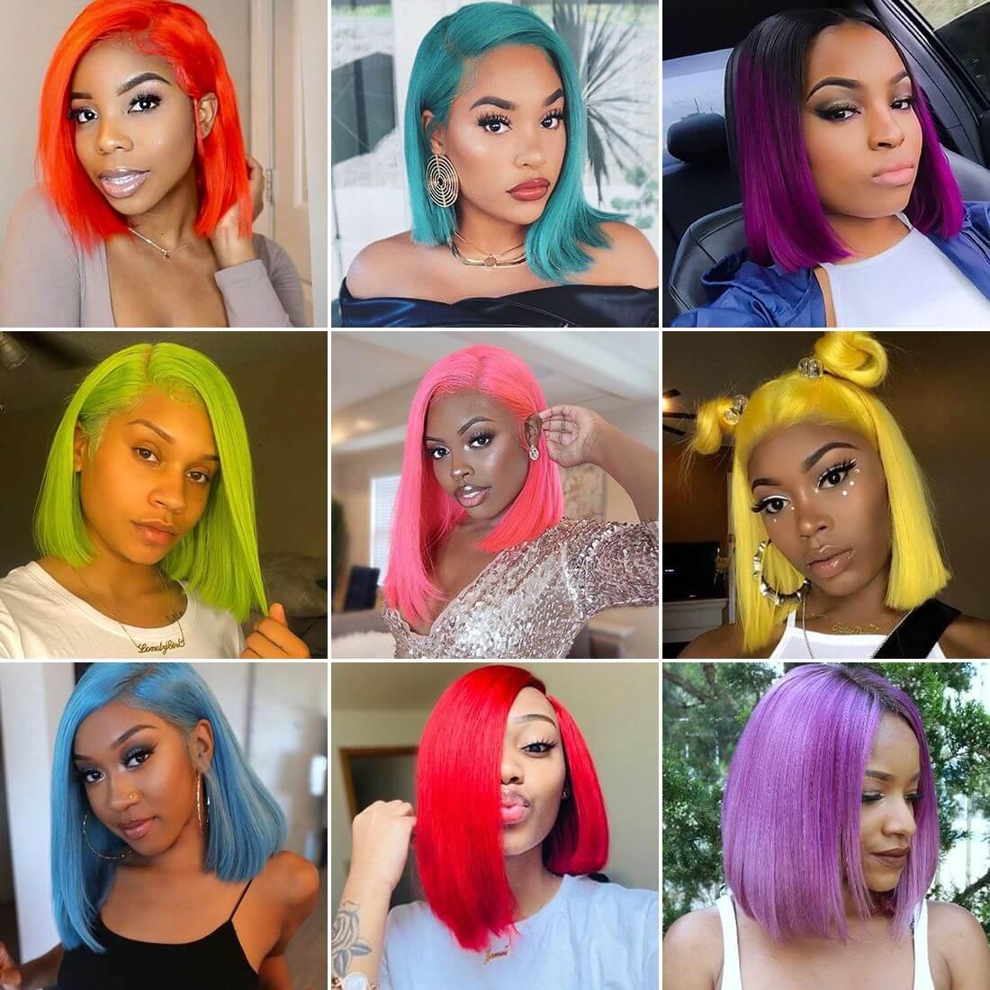 short bob colorful wigs,colorful bob straight front,pink straight front wig,red color wigs,green wig,coloful straight cut bob wig,blue bob wigs,purple bob wig