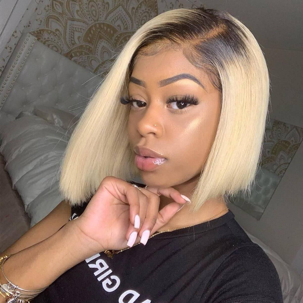 1b 613 straight bob front wig,1b 613 straight short bob wig,ombre blonde straight bob wig,shor bob wig 1b 613 straight,1b blonde color wig,straight bob wig 1b blonde