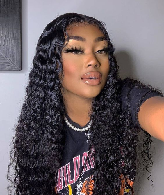 Curly hair lace front wig